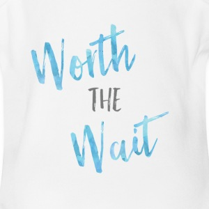 Worth the Wait Blue Watercolor   - Short Sleeve Baby Bodysuit