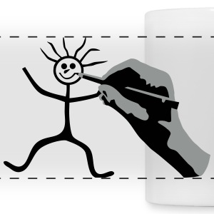 Drawing Hand & Stickman - Doodle Mugs & Drinkware - Panoramic Mug