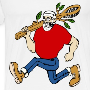 ,lacrosse player running - Men's Premium T-Shirt