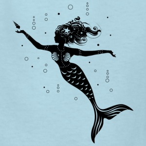 mermaid playing with a shell Kids' Shirts - Kids' T-Shirt