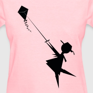 Girl Flying Kite   - Women's T-Shirt