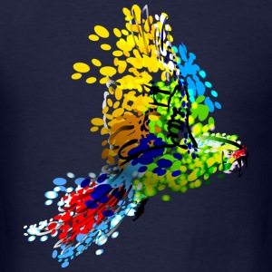 color illustration of flying macaw - Men's T-Shirt