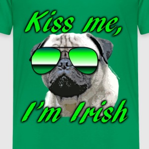 Kiss Me I'm Irish Pug Dog Kids' Shirts - Kids' Premium T-Shirt