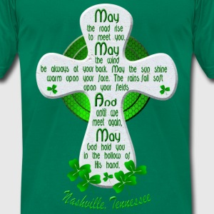 Nashville Irish Blessing Cross Men's GreenT-Shirts - Men's T-Shirt by American Apparel