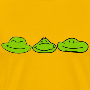 3 faces frog buddies team heads pattern funny T-Shirts - Men's Premium T-Shirt