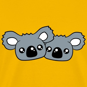 2 sweet little cute koalas team buddies faces head T-Shirts - Men's Premium T-Shirt