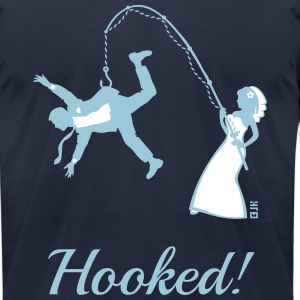 Hooked! (Bride Fishing Groom / Stag Party) T-Shirt - Men's T-Shirt by American Apparel