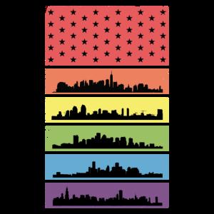 Rainbow Skyline LGBT Flag Pride