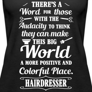 big colorful world with hairdresser Tanks - Women's Premium Tank Top