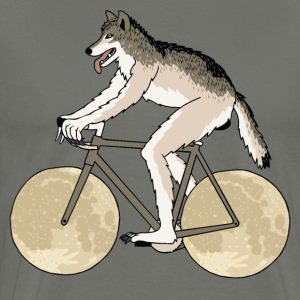Werewolf Riding Bike With Full Moon Wheels T-Shirts - Men's Premium T-Shirt