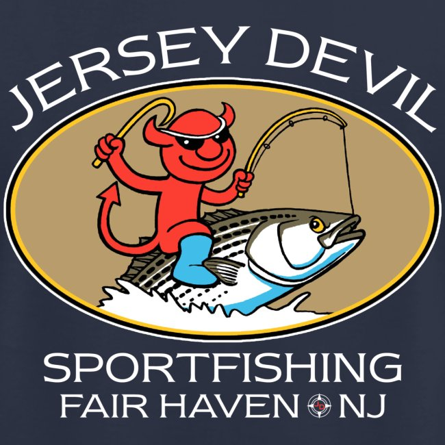 Jersey Devil Men's T Navy: Striper, Back only