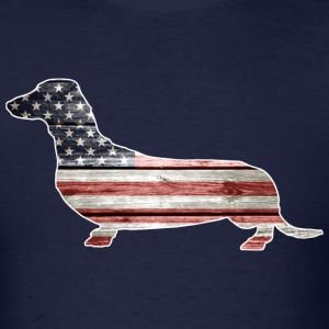 Patriotic Dachshund Dog, American Flag - Men's T-Shirt