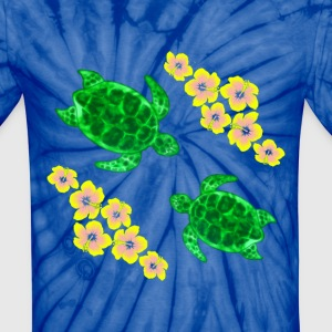 Green Sea Turtles And Hibiscus Flowers - Unisex Tie Dye T-Shirt
