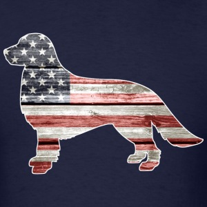 Patriotic Golden Retriever, American Flag - Men's T-Shirt