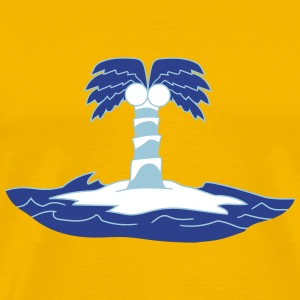 island holiday palm lonely blue coconut sea water  T-Shirts - Men's Premium T-Shirt