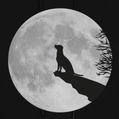 full moon dog werewolf wolf howl labrador pup Hoodies