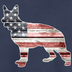 Patriotic German Shepherd, American Flag - Kids' Premium T-Shirt