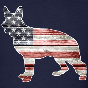 Patriotic German Shepherd, American Flag - Men's T-Shirt