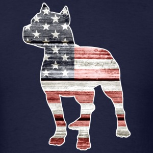 Patriotic Pitbull, American Flag - Men's T-Shirt