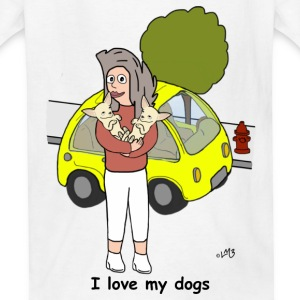 Tina Loves and Hugs her Pups Kids' Shirts - Kids' T-Shirt