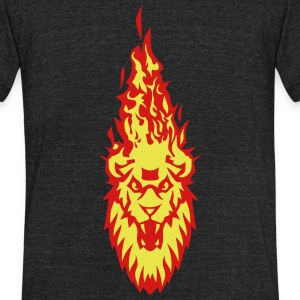 fire flame head lion 310 T-Shirts - Unisex Tri-Blend T-Shirt by American Apparel