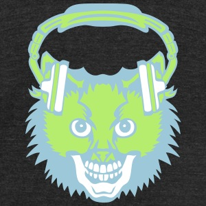 cat mouth audio music skull headphones T-Shirts - Unisex Tri-Blend T-Shirt by American Apparel