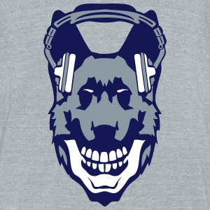dog audio music skull headphones death T-Shirts - Unisex Tri-Blend T-Shirt by American Apparel