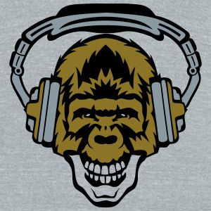 gorilla face audio skull music headphone T-Shirts - Unisex Tri-Blend T-Shirt by American Apparel