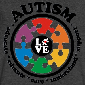 LOVE Autism Awareness - Men's V-Neck T-Shirt - Men's V-Neck T-Shirt by Canvas