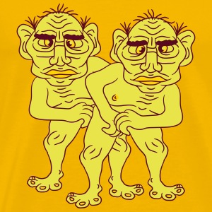 2 naked opas buddies couple love gay gay gay ugly  T-Shirts - Men's Premium T-Shirt