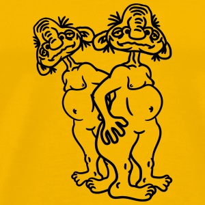 2 old opas naked man ugly disgusting monster horro T-Shirts - Men's Premium T-Shirt