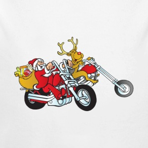 Santa and his reindeer on their motorcycle's - Long Sleeve Baby Bodysuit