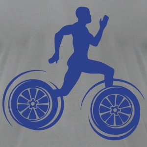 sprinter athlete racing wheel legs T-Shirts - Men's T-Shirt by American Apparel