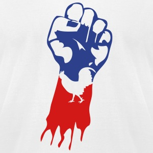 french flag fist cock 1 T-Shirts - Men's T-Shirt by American Apparel