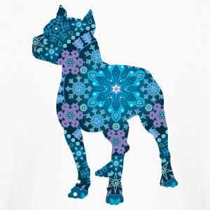 Pitbull, Blue Bohemian Snowflake Design - Kids' Long Sleeve T-Shirt