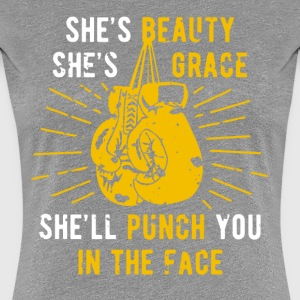 Boxing Beauty Grace Punch you in the face T Shirt  Women's T-Shirts - Women's Premium T-Shirt