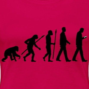 evolution_of_man_smartphone01_2c Women's T-Shirts - Women's Premium T-Shirt