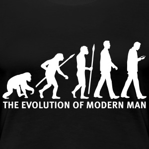 evolution_of_man_smartphone03_1c Women's T-Shirts - Women's Premium T-Shirt