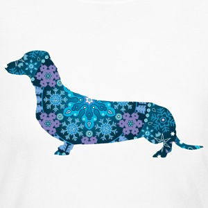 Dachshund, Blue Bohemian Snowflake Design - Women's Long Sleeve Jersey T-Shirt