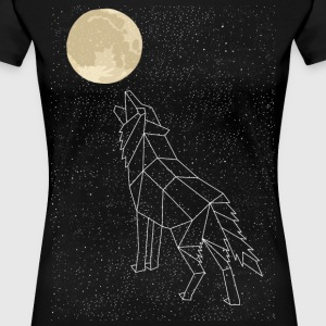 Wolf Howling At Moon Constellation Women's T-Shirts - Women's Premium T-Shirt