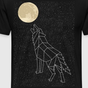 Wolf Howling At Moon Constellation T-Shirts - Men's Premium T-Shirt