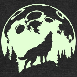 Glow-In-The-Dark Wolf Howling at the Moon T-Shirts - Unisex Tri-Blend T-Shirt by American Apparel