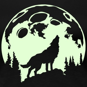 Glow-In-The-Dark Wolf Howling at the Moon Women's T-Shirts - Women's Premium T-Shirt