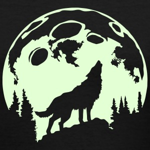 Glow-In-The-Dark Wolf Howling at the Moon Women's T-Shirts - Women's V-Neck T-Shirt