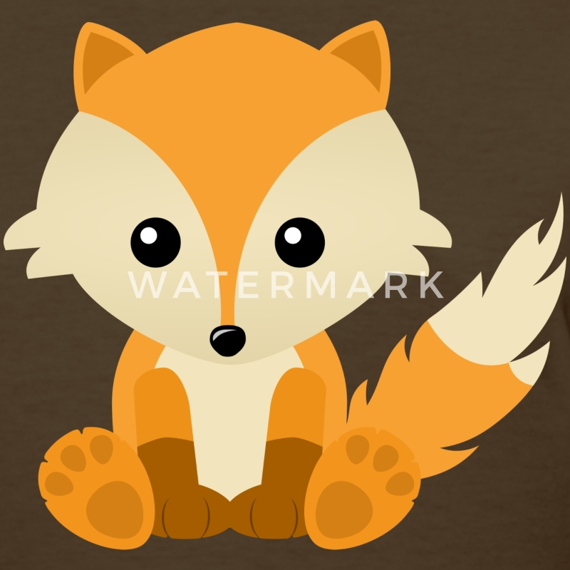 Kawaii Cute Fox Cub Cartoon - Women's T-Shirt