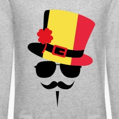Belgium Mustache Long Sleeve Shirts