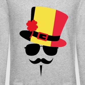 Belgium Mustache Long Sleeve Shirts - Crewneck Sweatshirt
