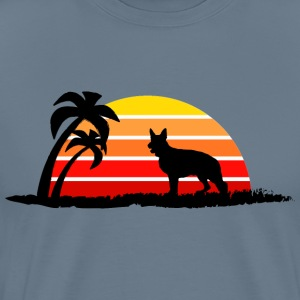 German Shepherd on Sunset Beach - Men's Premium T-Shirt