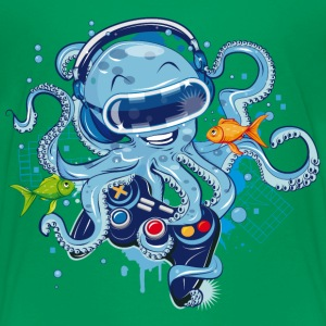 Octopus with gamepad and VR goggles Kids' Shirts - Kids' Premium T-Shirt