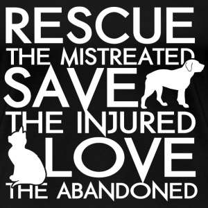 RESCUE SAVE LOVE DOG AND CAT - Women's Premium T-Shirt